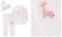 Carter's Baby Girls 3-Pc. Cotton Top, Pants & Hat Set