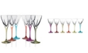 Lorren Home Trends Fusion Crystal Multi Color Water Goblet Set
