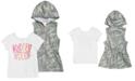 Belle Du Jour Big Girls 2-Pc. Hooded Camo-Print Vest & Kindness-Print T-Shirt Set