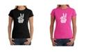LA Pop Art Women's Word Art T-Shirt - Peace Fingers