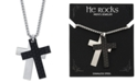 "He Rocks Silver and Black Double Cross Pendant Necklace In Stainless Steel, 24"" Chain"
