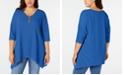 NY Collection Plus Size Handkerchief-Hem Hardware Tunic