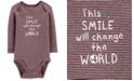 Carter's Baby Boys Striped Smile Cotton Bodysuit