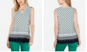 Charter Club Printed Keyhole-Neck Top, Created for Macy's
