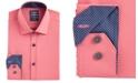 Society of Threads Men's Slim-Fit Performance Stretch Moisture-Wicking Wrinkle-Free Orange Solid Dress Shirt