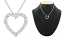 Macy's Diamond Heart Pendant Necklace in 14k White Gold (1/10 ct. t.w.)