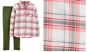 Carter's Little & Big Girls 2-Pc. Plaid Twill Top & Leggings Set