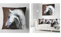 "Design Art Designart Gray Arabian Horse Watercolor Abstract Throw Pillow - 18"" X 18"""