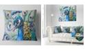 "Design Art Designart Beautiful Peacock Watercolor Abstract Throw Pillow - 18"" X 18"""