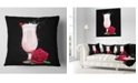 """Design Art Designart Strawberry Cocktail And Red Rose Floral Throw Pillow - 16"""" X 16"""""""