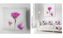 "Design Art Designart Watercolor Purple Daisy Flowers Floral Throw Pillow - 18"" X 18"""