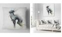 "Design Art Designart Black Dog Watercolor With Splashes Animal Throw Pillow - 18"" X 18"""