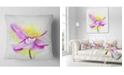 """Design Art Designart Beautiful Purple Flower With Yellow Flowers Throw Pillowwork - 18"""" X 18"""""""