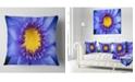 "Design Art Designart Blue Lotus Close Up Watercolor Flowers Throw Pillowwork - 16"" X 16"""