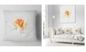 "Design Art Designart Yellow Rose Sketch On White Back Flower Throw Pillow - 18"" X 18"""