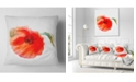"""Design Art Designart Large Red Poppy On White Back Flower Throw Pillow - 18"""" X 18"""""""