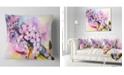 "Design Art Designart Japanese Cherry Blossoms Watercolor Floral Throw Pillow - 18"" X 18"""