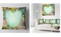 "Design Art Designart Retro Flowers With Heart Shape Floral Throw Pillow - 18"" X 18"""