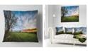 "Design Art Designart Green Pasture Under Blue Sky Landscape Printed Throw Pillow - 16"" X 16"""