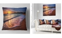 "Design Art Designart Foaming Waves At Beautiful Sunset Seashore Throw Pillow - 16"" X 16"""