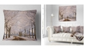 """Design Art Designart Trees And Road In White Winter Landscape Printed Throw Pillow - 18"""" X 18"""""""