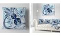 """Design Art Designart Dark Blue Purple Fractal Flower Abstract Throw Pillow - 18"""" X 18"""""""