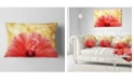 "Design Art Designart Hibiscus Flower With Lit Up Background Floral Throw Pillow - 12"" X 20"""