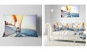 "Design Art Designart Sailboat Sailing In The Blue Sea Seashore Throw Pillow - 12"" X 20"""
