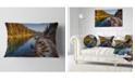 "Design Art Designart Placid Lake Between Mountains Landscape Printed Throw Pillow - 12"" X 20"""