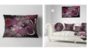 """Design Art Designart Dark Violet Fractal Flower Abstract Throw Pillow - 12"""" X 20"""""""