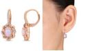 Macy's Blue-Hued Opal (1-1/2 ct. t.w.) and Diamond (1/4 ct. t.w.) Halo Swirl Earrings in 10k Rose Gold