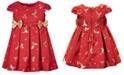 Bonnie Baby Baby Girls Jacquard Reindeer-Print Bows Dress