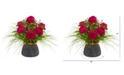 Nearly Natural Peony and Grass Artificial Arrangement in Designer Vase
