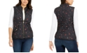 Charter Club Petite Quilted Floral-Print Zipper Vest, Created For Macy's