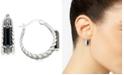 Macy's Onyx (3-1/2 x 9-1/2mm) & Marcasite Hoop Earrings in Sterling Silver