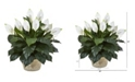"""Nearly Natural 35"""" Spathiphyllum Artificial Plant in White Planter"""