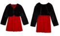 BCX Big Girls 2-Pc. Faux-Fur Shrug & Velvet Shift Dress