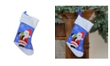 "Northlight 15"" Blue Red and White Embroidered Santa Claus Christmas Stocking with White Cuff"