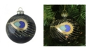 "Northlight 4"" 100mm Regal Peacock Glittered Peacock Feather Black Glass Ball Christmas Ornament"