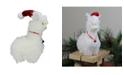"Northlight 13"" Plush Standing Llama with Jingle Bell Necklace Christmas Tabletop Figure"