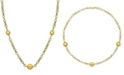 """Macy's Cultured Golden South Sea Pearl (10mm) 19-1/2"""" Station Necklace in 18k Gold-Plated Sterling Silver"""