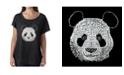 LA Pop Art Women's Dolman Cut Word Art Shirt - Panda