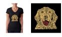 LA Pop Art Women's Word Art V-Neck T-Shirt - Dog