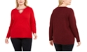 INC International Concepts INC Plus Size Embellished Keyhole Sweater, Created For Macy's