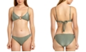 California Waves Juniors' Shiny Rib Triangle Bikini Top & Hipster Bottoms, Created For Macy's