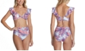 Raisins Juniors' Ruffled Bikini Top & High-Waist Bottoms, Created For Macy's