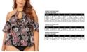 Raisins Curve Trendy Plus Size Juniors' Wild Romance Printed Shea Cold-Shoulder Tankini Top