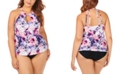 Raisins Curve Plus Size Juniors' Torquay Tie Dye Printed Rosalie High Neck Underwire Tankini Top & Bottoms