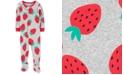Carter's Baby Girls Cotton 1-Pc. Strawberry-Print Footie Pajama