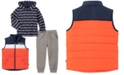 Nautica Toddler Boys 3-Pc. Colorblocked Puffer Vest, Hooded Logo-Stripe T-Shirt & Fleece Sweatpants Set